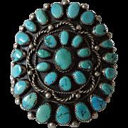Vintage NAVAJO Bracelet: Classic Signed Sterling Silver & Petit Point Cluster TURQUOISE BRACELET
