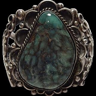 Heavy Vintage NAVAJO Sterling Silver & DAMELE Turquoise Cuff Bracelet 103g