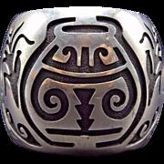 Heavy Vintage HOPI Sterling Silver OVERLAY Cuff BRACELET Small Size Wrist