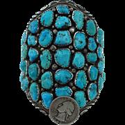 Massive Vintage NAVAJO Sterling Silver and Deep Blue TURQUOISE Cluster Cuff BRACELET