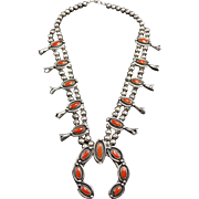Classic Vintage NAVAJO Sterling Silver & CORAL Squash Blossom NECKLACE