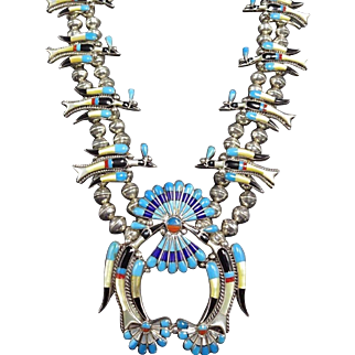 Vintage ZUNI Sterling Silver TURQUOISE Inlay Peyote Bird SQUASH BLOSSOM Necklace
