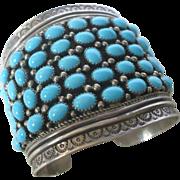 NAVAJO BRACELET: Huge & Heavy Vintage NAVAJO Sterling Silver and Turquoise Cluster Cuff BRACELET, 145g, signed by Lester Jackson