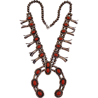 Classic Vintage NAVAJO Sterling Silver & Old RED CORAL SQUASH BLOSSOM Necklace