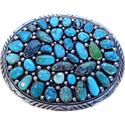 Huge Heavy Signed Vintage NAVAJO Sterling Silver & Turquoise Cluster BELT BUCKLE