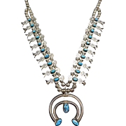 NAVAJO Sterling Silver & Turquoise Boxbow Squash Blossom Necklace SMALLCANYON