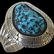Huge Signed Ray BEGAY Vintage NAVAJO Sterling Silver & Turquoise Cuff BRACELET