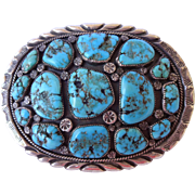 Heavy Signed Vintage NAVAJO Sterling Silver & Turquoise Cluster BUCKLE 120 grams