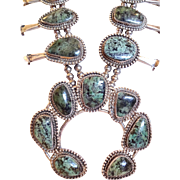 Magnificent Vintage NAVAJO Sterling Silver & Turquoise SQUASH BLOSSOM Necklace