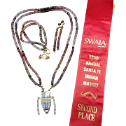 RARE Melanie Kirk-Lente, 2nd Place SWAIA, 14k GOLD Necklace Bracelet and Earrings SET