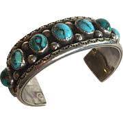 Vintage NAVAJO Hand-Stamped Sterling Silver Single Row TURQUOISE Cuff BRACELET