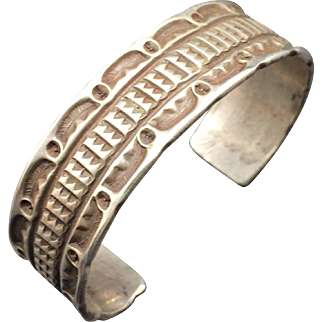 Rare BOOK PIECE Tony Aguilar Sr., Hand Stamped Sterling Silver Cuff BRACELET