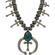 Signed Vintage Eugene Hale NAVAJO Sterling Silver & TURQUOISE Squash Blossom NECKLACE with Crosses and Fluted Beads