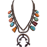 Signed Vintage NAVAJO Greg Pat SQUASH BLOSSOM NECKLACE Sterling Silver, Turquoise & Spiny Oyster Shell