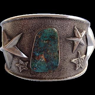 Signed NAVAJO Turquoise & Sterling Silver TUFA CAST Cuff Bracelet w/ Stars