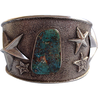 Signed NAVAJO Turquoise & Sterling Silver TUFA CAST Cuff Bracelet w/ Stars
