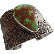 Signed NAVAJO Royston Turquoise & Heavy Sterling Silver TUFA CAST Cuff Bracelet