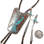 TOMMY SINGER Vintage NAVAJO Sterling Silver Coral Turquoise Chip Inlay BOLO Tie