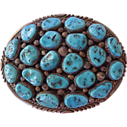 Heavy Signed Vintage NAVAJO Sterling Silver & Turquoise Cluster BUCKLE, 90 grams