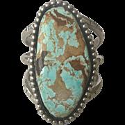 Heavy Vintage NAVAJO Sterling Silver & Huge DRY CREEK Turquoise Cuff Bracelet