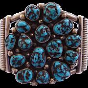 Heavy Vintage NAVAJO SterlingSilver Blue Diamond TURQUOISE Cluster Cuff BRACELET