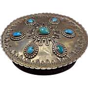 RARE 1940s Vintage ZUNI VACIT Hand Stamped Sterling Silver TURQUOISE Trinket Box
