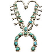 Mid Century Vintage NAVAJO Sterling Silver & Turquoise SQUASH BLOSSOM Necklace