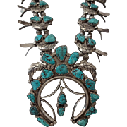 Museum Quality 1940s NAVAJO Sterling Silver TURQUOISE Squash Blossom Necklace