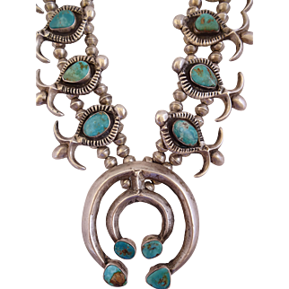 Vintage 1930s NAVAJO Heavy Gauge Cast Sterling Silver & Turquoise SQUASH BLOSSOM Necklace, Double Naja