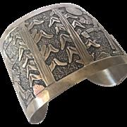 Signed Vintage NAVAJO Sterling Silver Storyteller Cuff Bracelet Wide Band