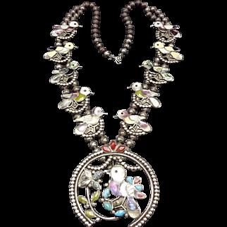 Vintage ZUNI Sterling Silver & Multi Stone Inlay SQUASH BLOSSOM Necklace BIRDS
