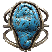 Signed Vintage NAVAJO Sterling Silver & KINGMAN Turquoise Cuff BRACELET 77.6g