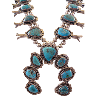 Heavy Vintage NAVAJO Sterling Silver & Turquoise SQUASH BLOSSOM Necklace 244g