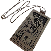 Signed Vintage Hopi SEKAQUAPTEWA Sterling Silver Overlay KACHINA PENDANT + Chain