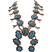 HUGE Vintage NAVAJO Sterling Silver & Deep Blue Turquoise SQUASH BLOSSOM Necklace