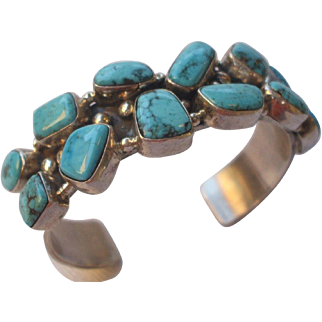 Signed Vintage Navajo Sterling Silver & Cluster TURQUOISE Cuff BRACELET Heavy