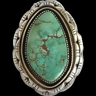 ESTATE FIND: Huge Vintage NAVAJO Sterling Silver & DAMELE Turquoise Ring, size 8