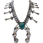 Vintage NAVAJO Mercury Dime Beads Coin Silver & Sterling NECKLACE Turquoise