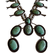 Gorgeous Vintage NAVAJO Green CARICO LAKE Turquoise Squash Blossom Necklace 269g