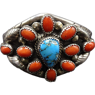Signed Vintage NAVAJO Sterling Silver Coral & Turquoise Cluster Cuff BRACELET