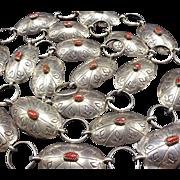 Vintage NAVAJO Hand Stamped Sterling Silver & Old Red Coral Concho BELT Link