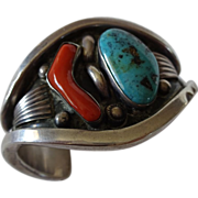 Heavy Signed Vintage NAVAJO Sterling Silver, Turquoise & Coral Cuff BRACELET, Phil Tso