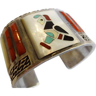 Signed Vintage PANTEAH ZUNI Sterling Silver CORAL & MOP Inlay Cuff Bracelet 107g