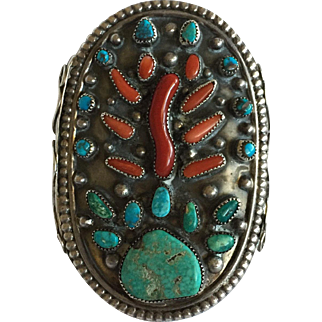 MUSEUM QUALITY Vintage Navajo Sterling Silver TURQUOISE Branch Coral Bracelet