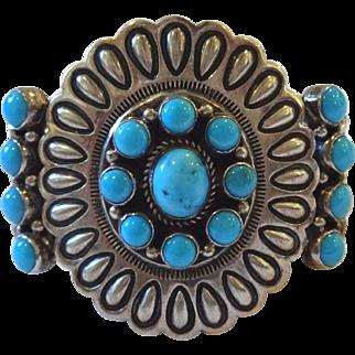 Signed Vintage NATIVE AMERICAN Sterling Silver & Turquoise Cluster Cuff BRACELET