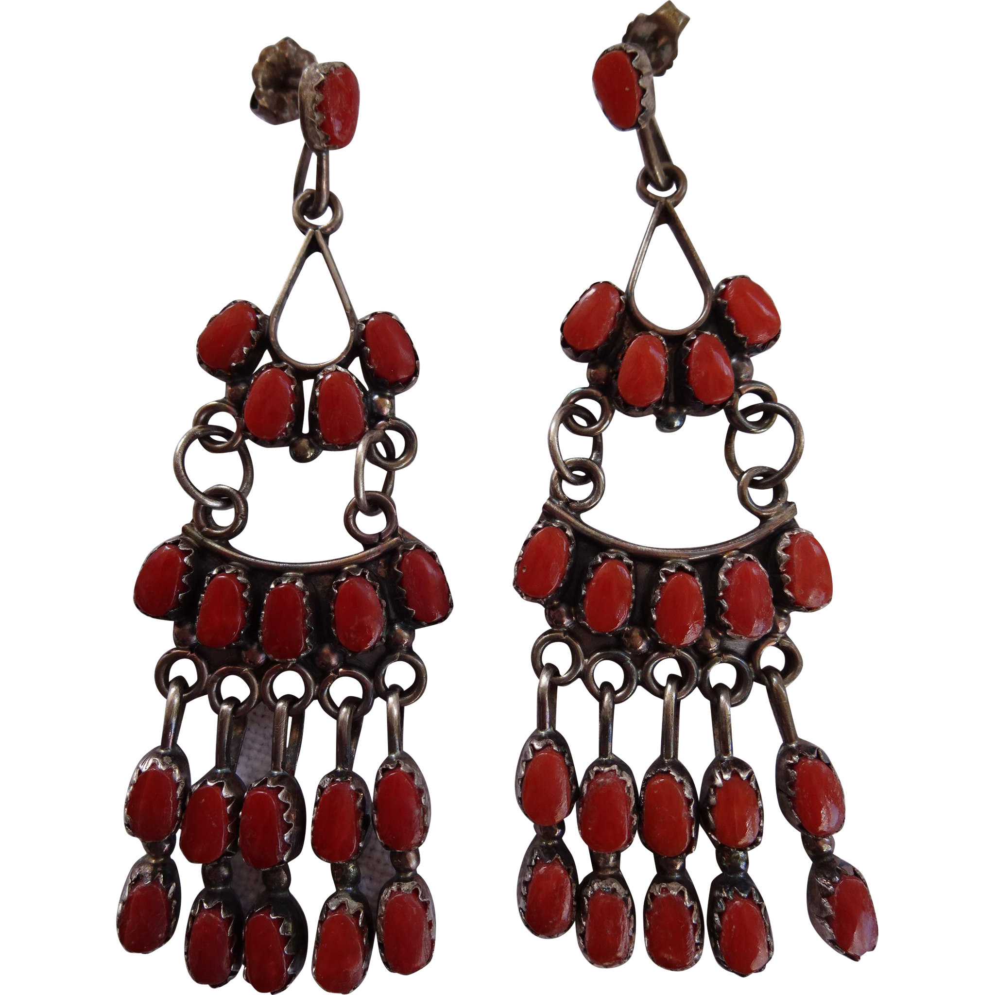 Red Coral Chandelier With 3 Lights: Vintage ZUNI Claudine Penketewa Sterling Silver & Red
