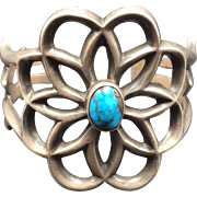 Heavy Vintage NAVAJO Sand Cast Sterling Silver & Turquoise Cuff BRACELET 67g
