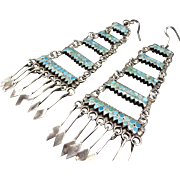 Vintage ZUNI Sterling Silver & Flat Inlay Turquoise Chandelier Dangle EARRINGS