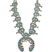 1940s Vintage ZUNI Sterling Silver TURQUOISE Petit Point SQUASH BLOSSOM Necklace