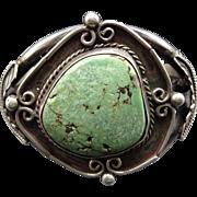 Signed Vintage NAVAJO Sterling Silver & Green Turquoise Cuff BRACELET 72g